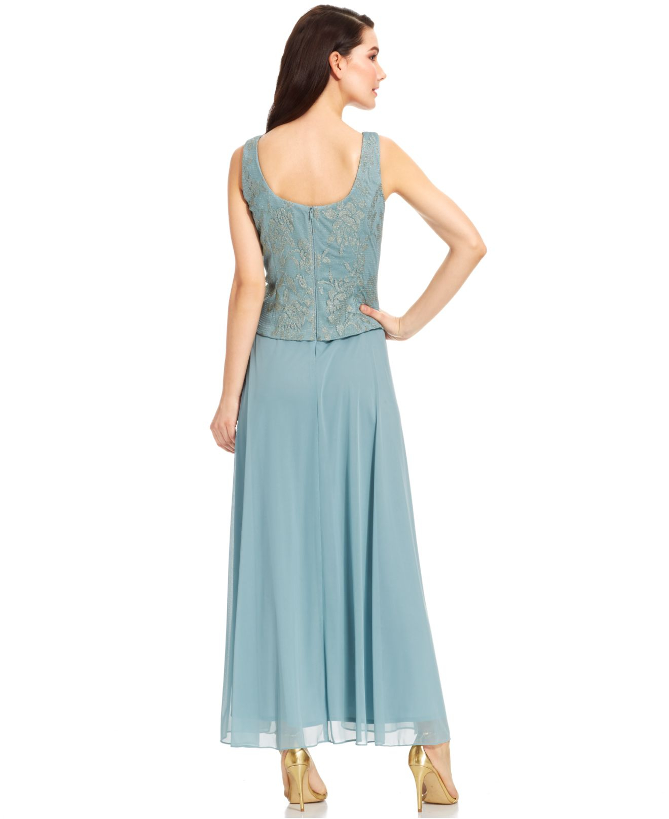 c7dcf307c0d6a Lyst - Patra Sleeveless Metallic Lace Gown And Jacket in Blue