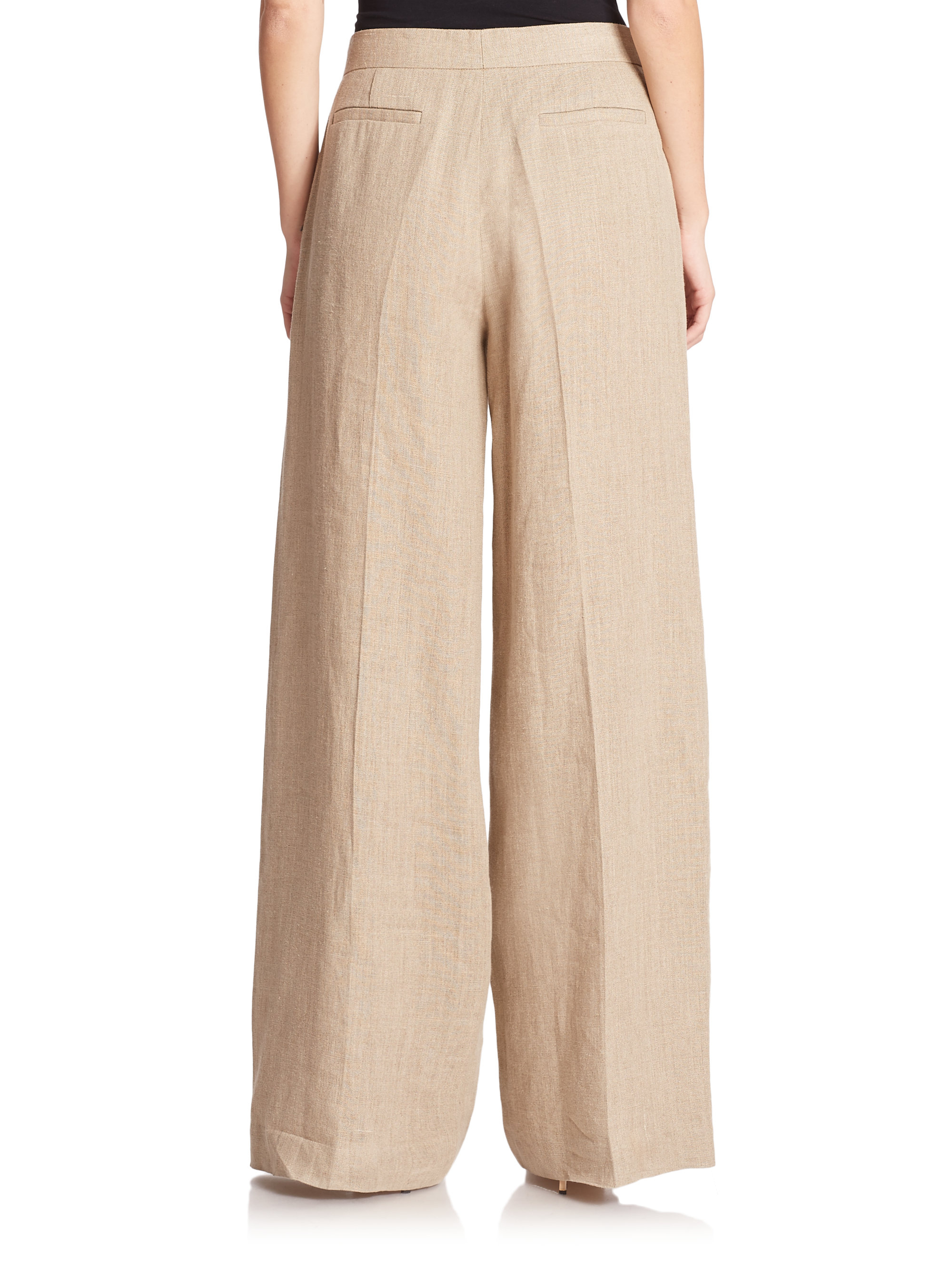 Theory Grinetta Linen Palazzo Pants in Natural | Lyst