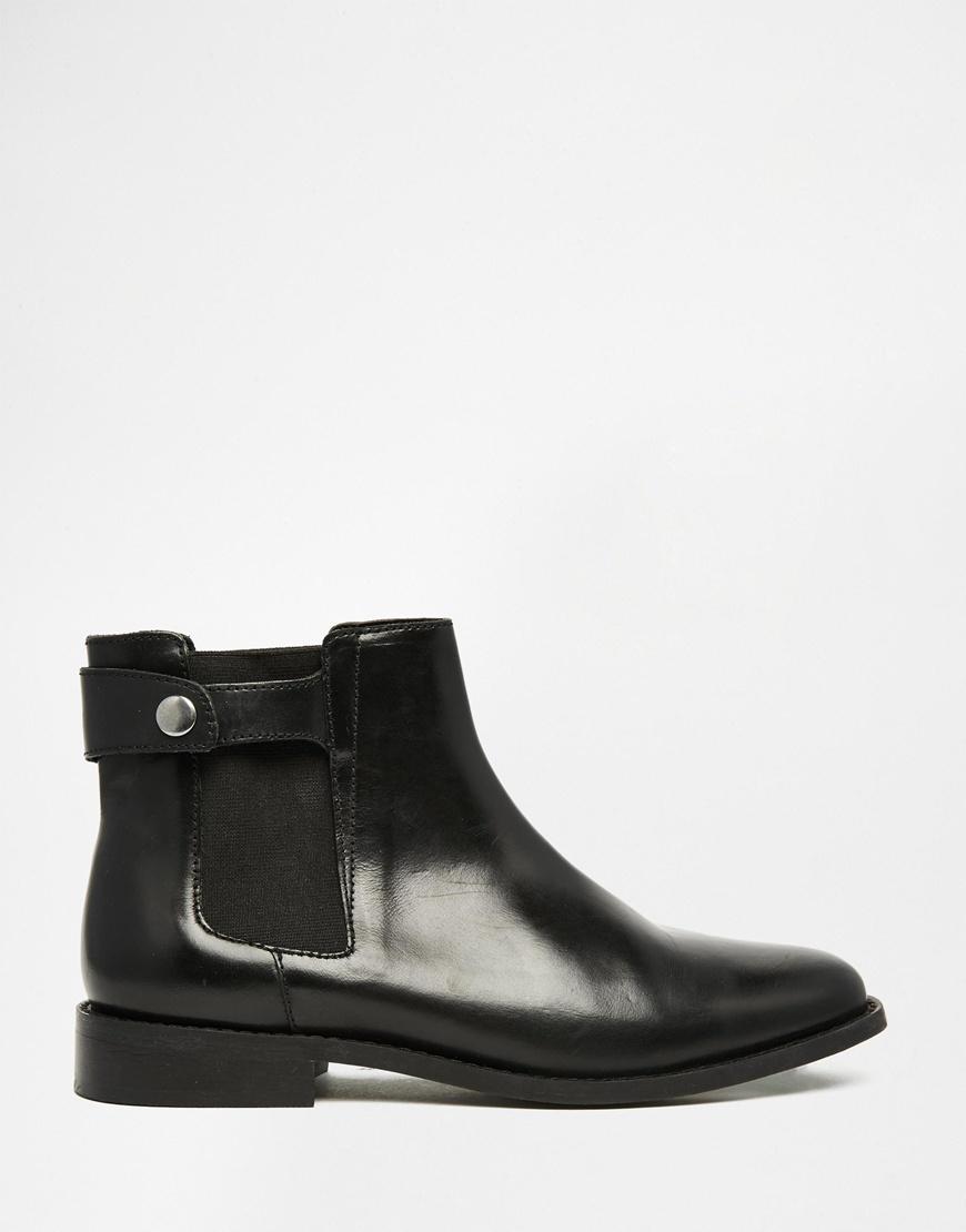 Faith Womens Black Leather Mid Chelsea Ankle Boots EG_9926