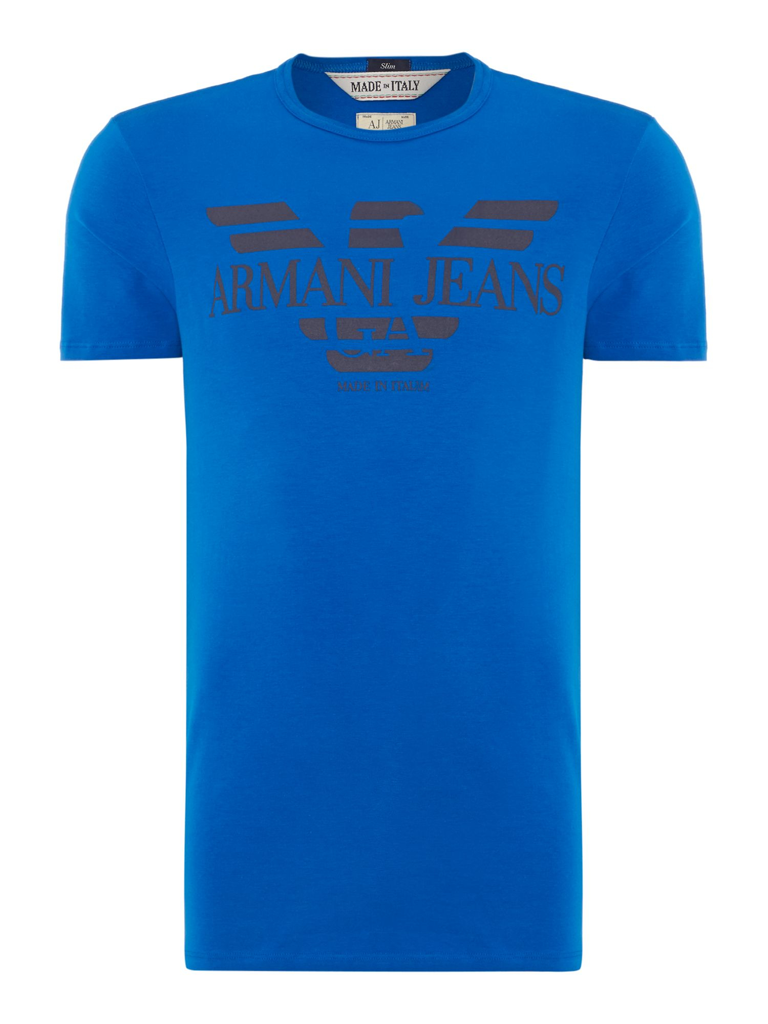 Lyst armani jeans made in italy logo t shirt in blue for men for Shirts made in italy