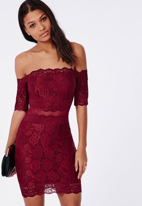8ebf50f5ac8 Missguided Kate Lace Bardot Midi Dress Burgundy in Purple - Lyst