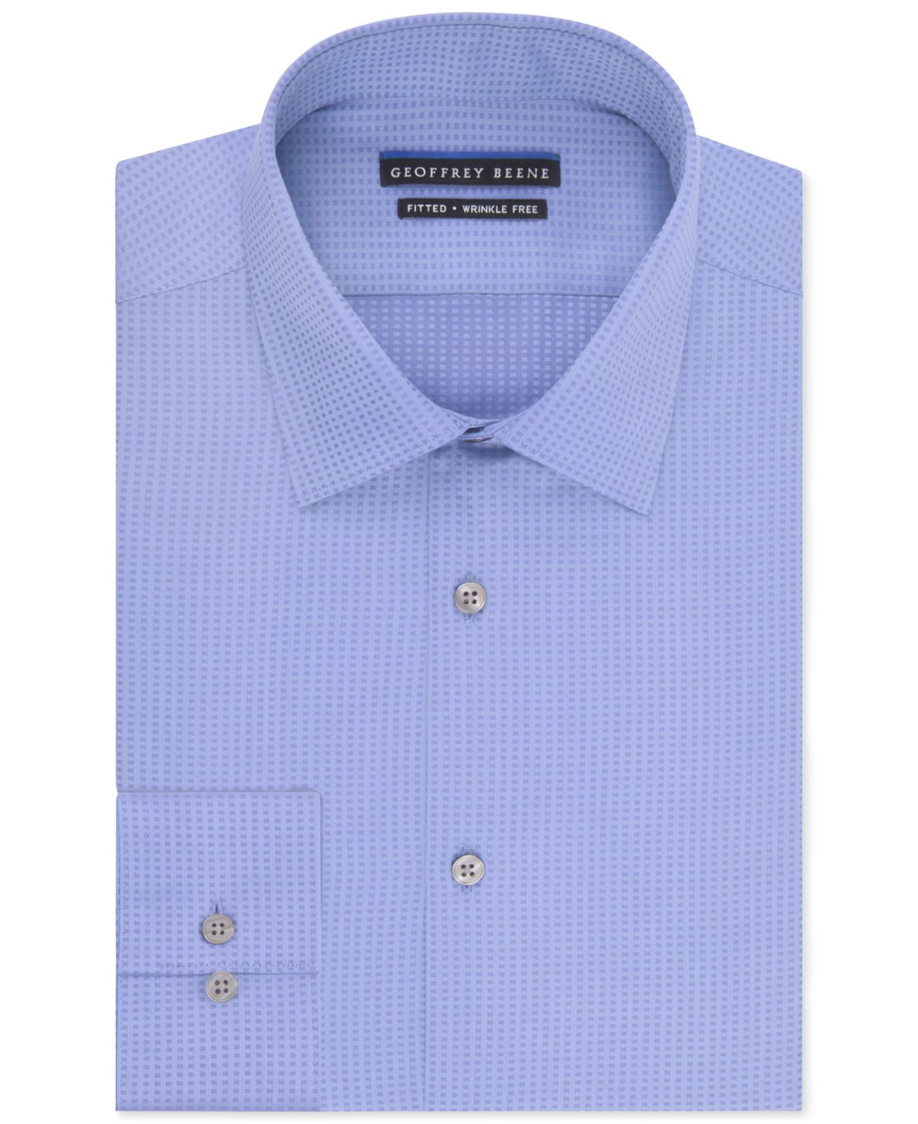Lyst geoffrey beene men 39 s fitted wrinkle free textured for Non wrinkle dress shirts