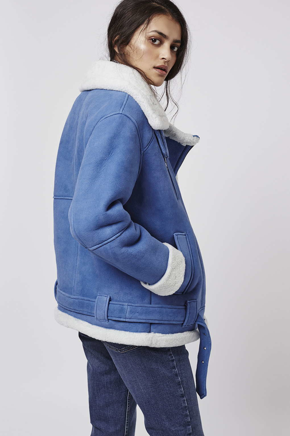 Topshop Real Shearling Biker Jacket in Blue | Lyst