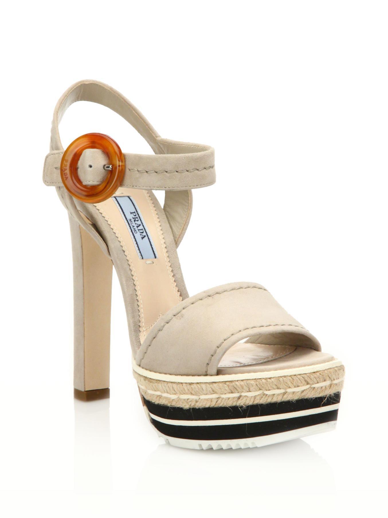 4a8b3a317c15 Lyst - Prada Microsole Suede Platform Sandals in Natural