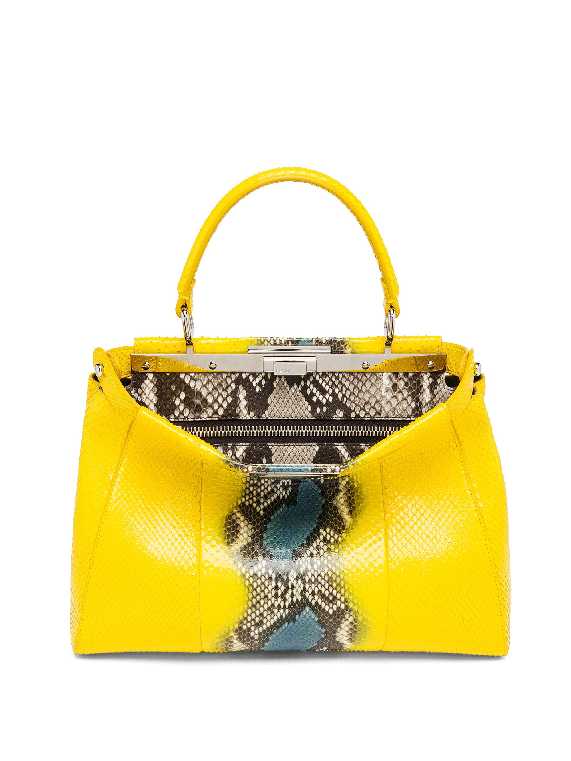 1f000d2ac4c2 Lyst - Fendi Peekaboo Multicolor Python Satchel in Yellow