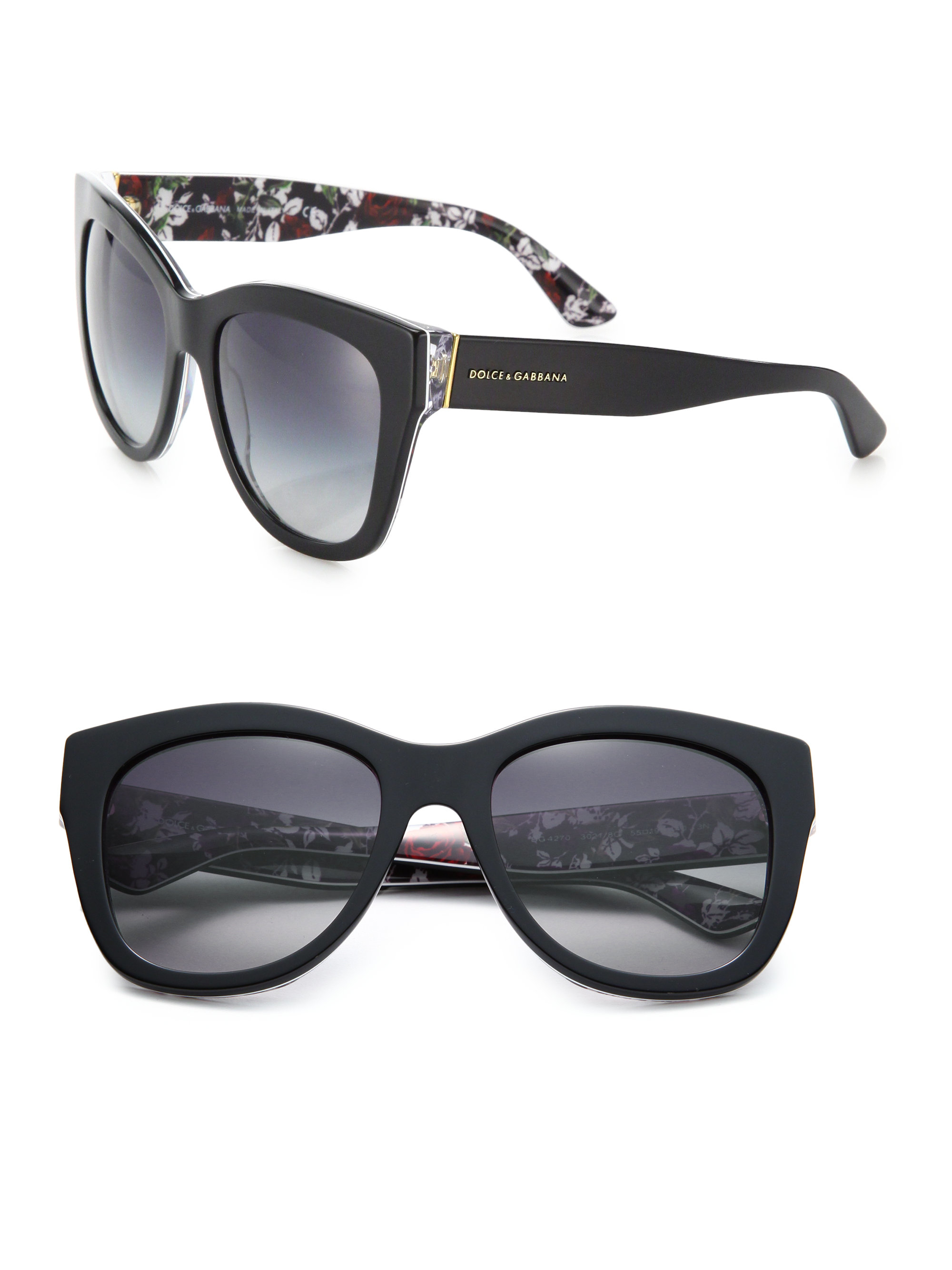 dd236f3d143f4 Dolce   gabbana 55mm Square Floral Acetate Sunglasses in Black