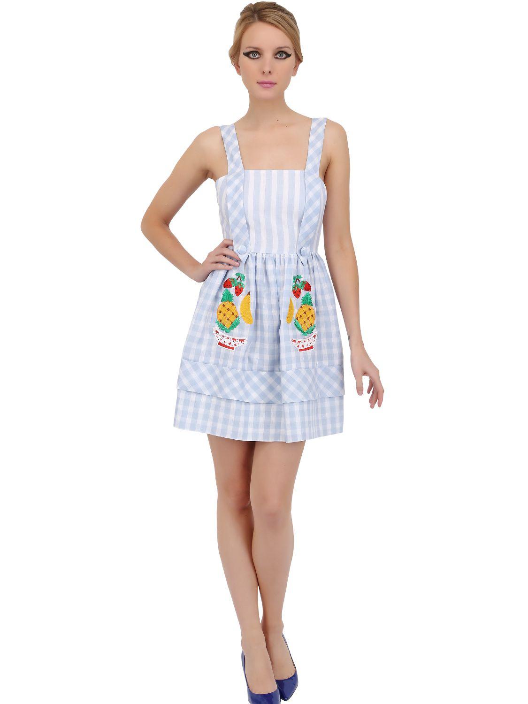 Lyst Vivetta Embroidered Linen Gingham Dress In Blue