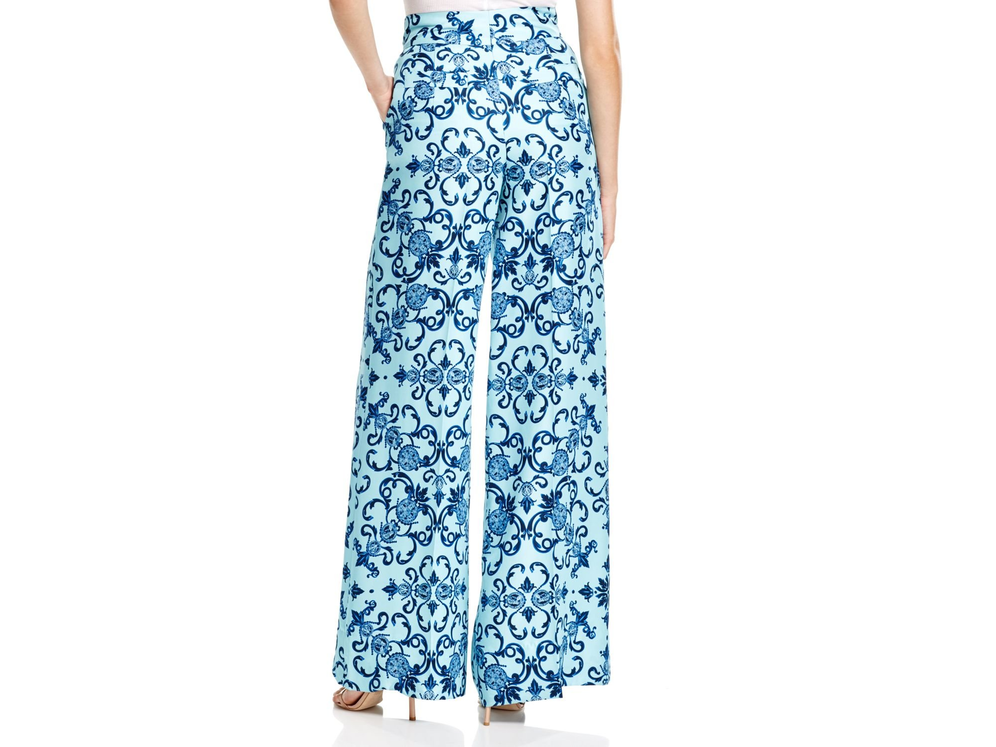 Escada Heritage Silk Wide Leg Palazzo Pants in Blue | Lyst