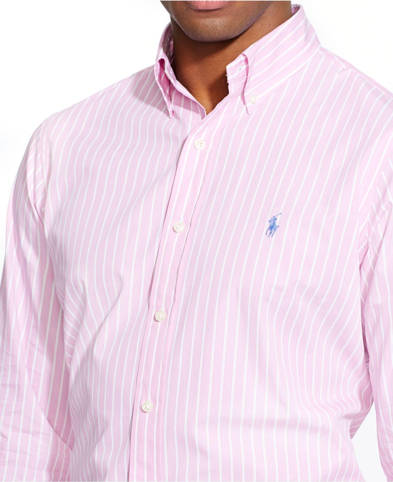 1c8593ee2d Polo Ralph Lauren Striped Poplin Shirt in Pink for Men - Lyst