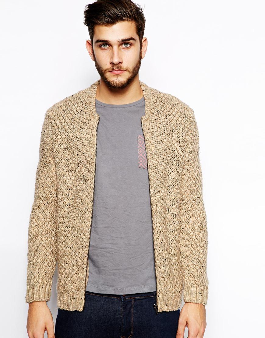 Knitting Pattern Bomber Jacket : Asos Knitted Bomber Jacket in Beige for Men (Oatmeal) Lyst