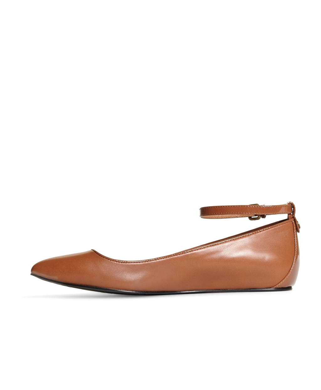 ad2302bb9aa Lyst - Brooks Brothers Leather Ankle Strap Ballet Flats in Brown