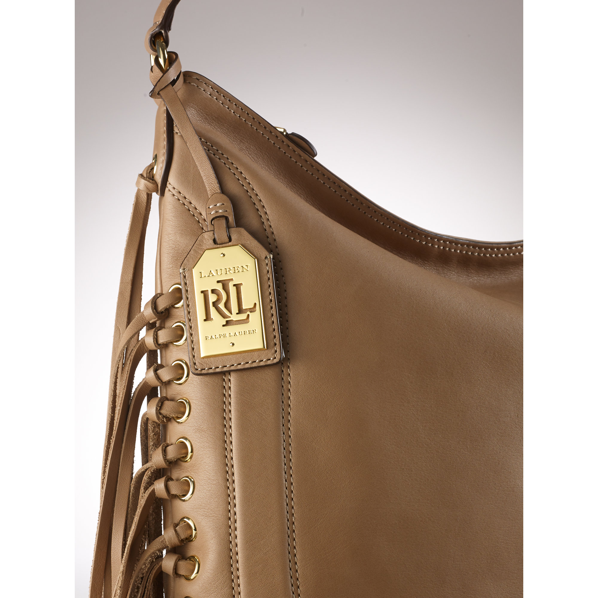 e95966fac028 Lyst - Ralph Lauren Leather Fleetwood Hobo in Natural