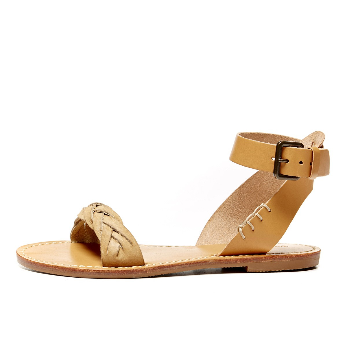 3addb40faf03 Lyst - Soludos Leather Braided Ankle Strap Sandal in Natural