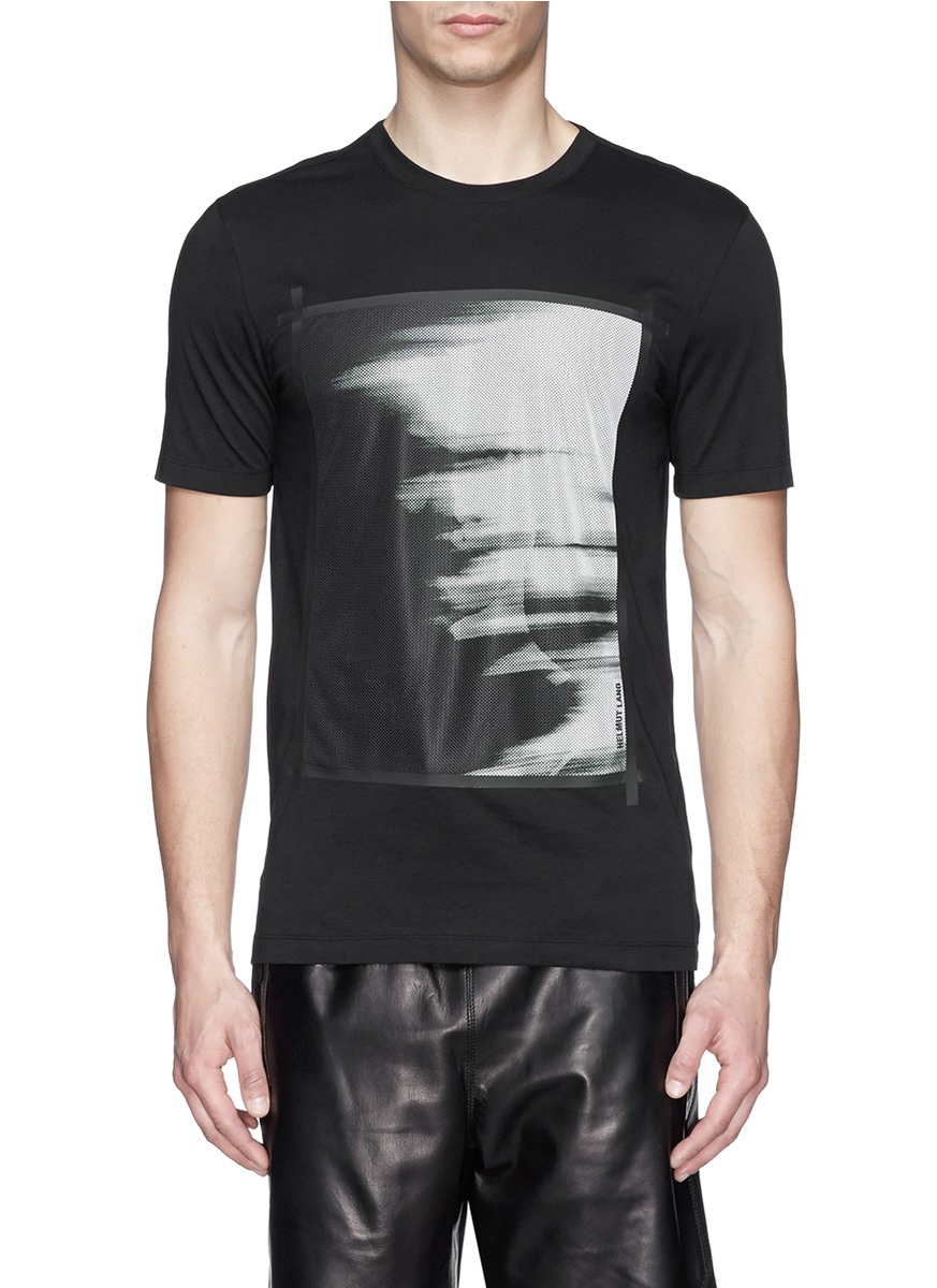 helmut lang ghost print cotton jersey t shirt in black for. Black Bedroom Furniture Sets. Home Design Ideas