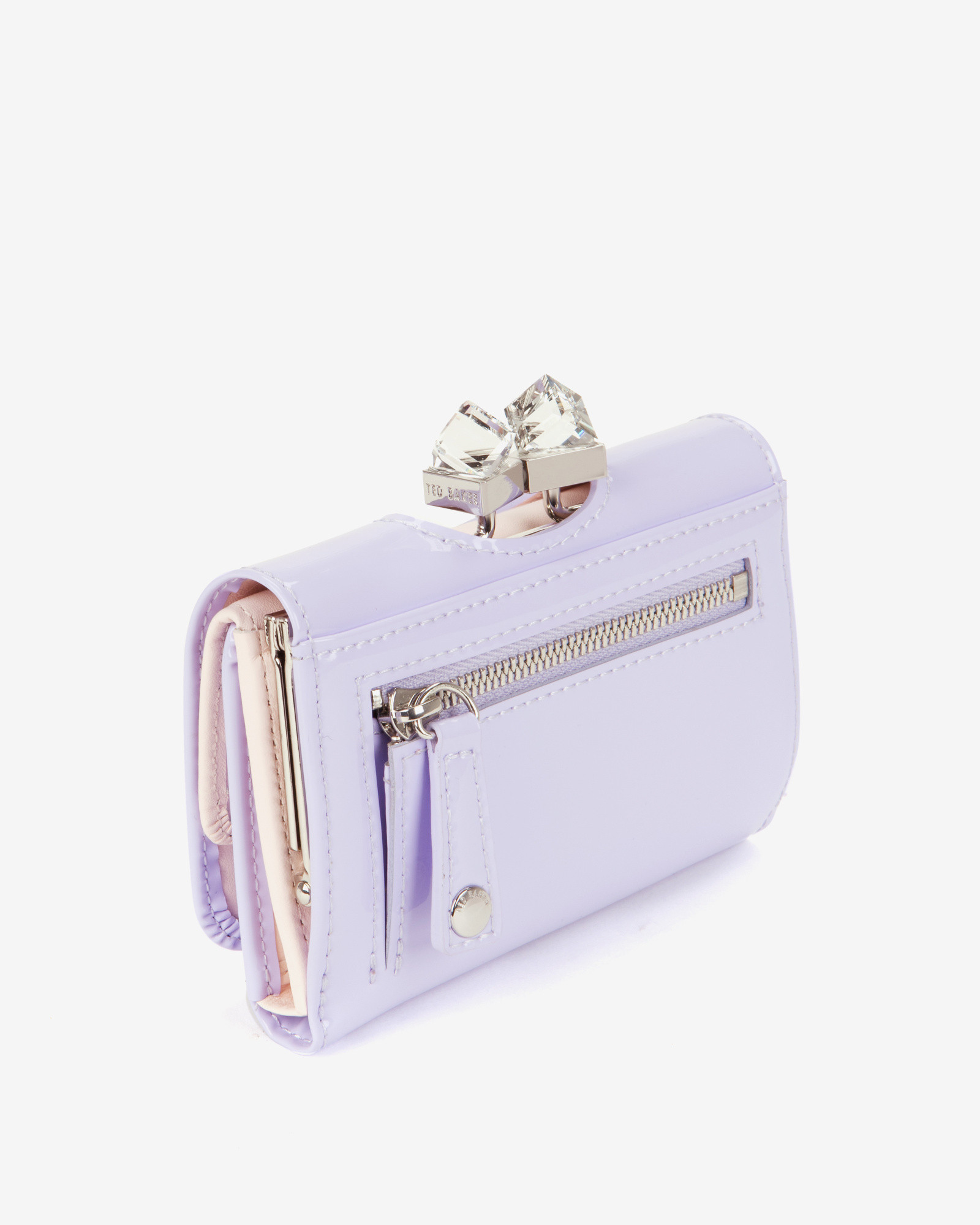 d77196bdad1e Lyst - Ted Baker Small Patent Crystal Frame Purse in Purple