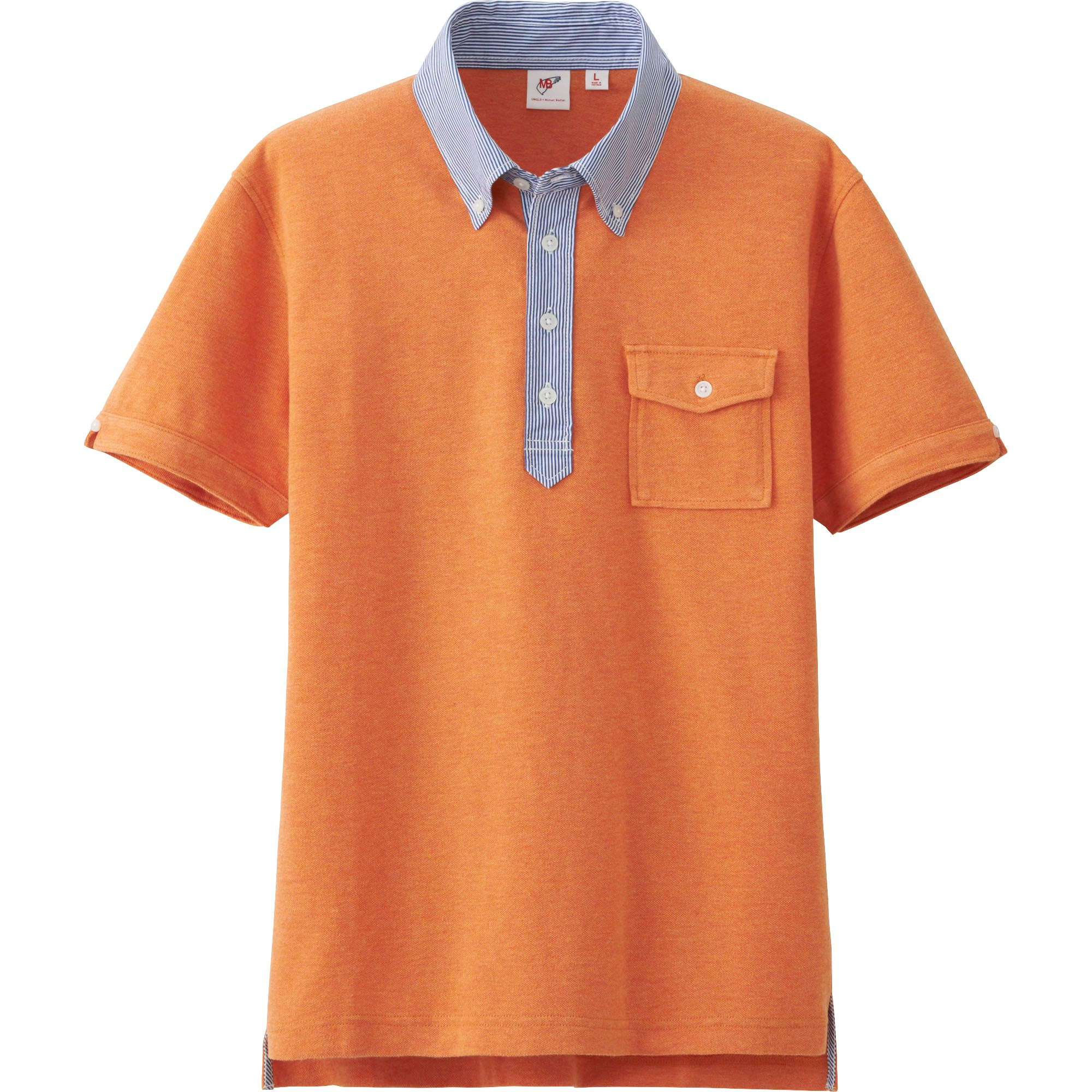 Uniqlo men washed short sleeve polo shirt by mb in orange for Mens orange polo shirt