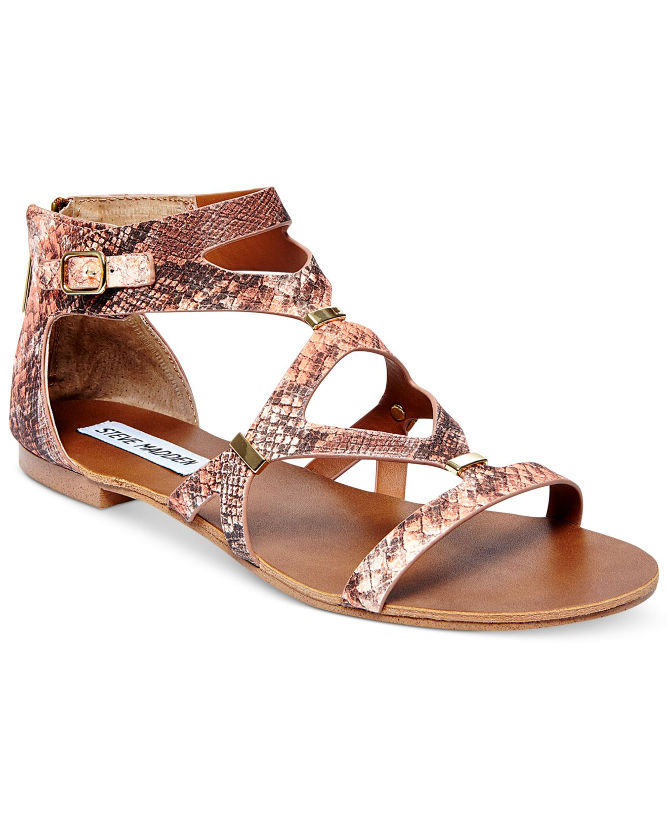 steve madden comly flat sandals in pink lyst