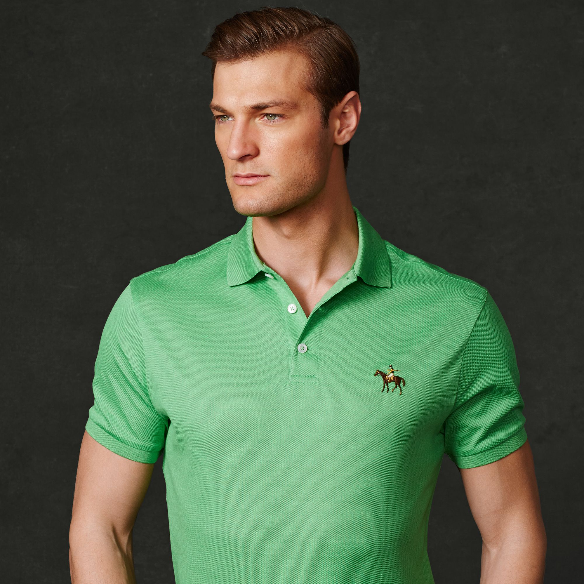 c33aab23 ... shop lyst ralph lauren purple label tailored fit pique polo in green  c84b1 94314