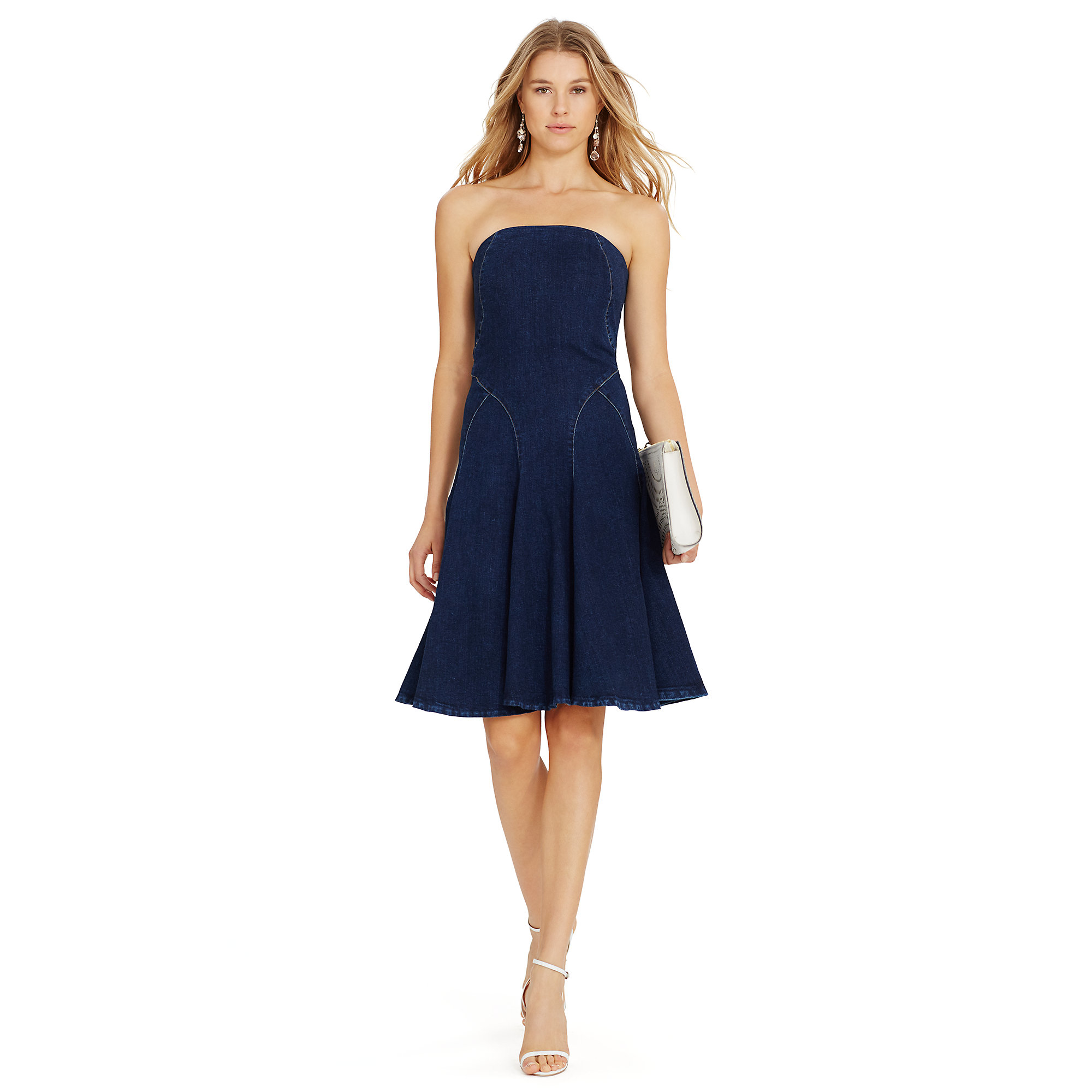 Polo ralph lauren Strapless Denim Dress in Blue | Lyst