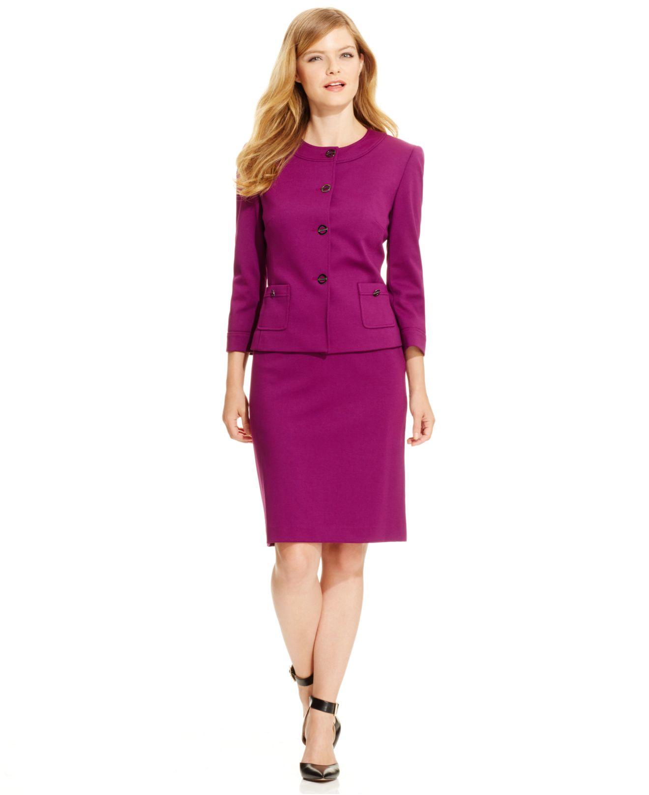 c69c102aa2c7 Tahari Petite Ponte Turn-key Skirt Suit in Purple - Lyst