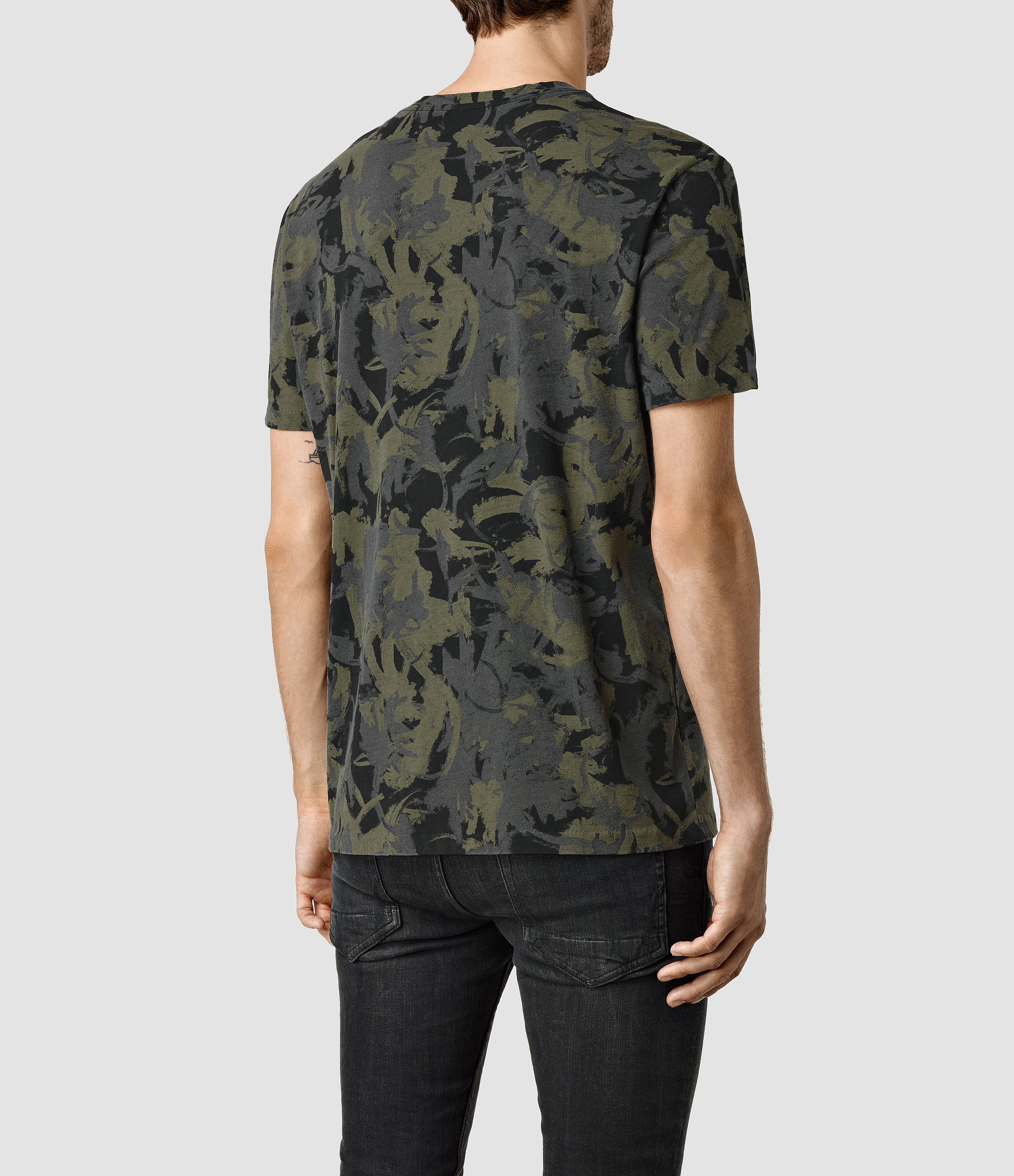 Lyst - AllSaints Painted Camo Crew T-shirt in Green for Men 33bf941c8
