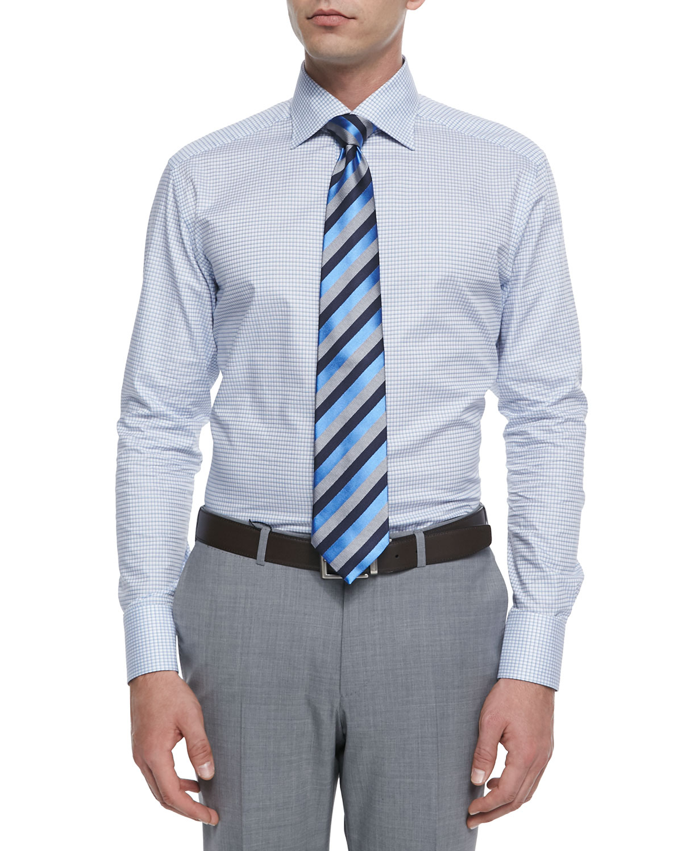 ermenegildo zegna shadow box check dress shirt in blue for men lyst. Black Bedroom Furniture Sets. Home Design Ideas