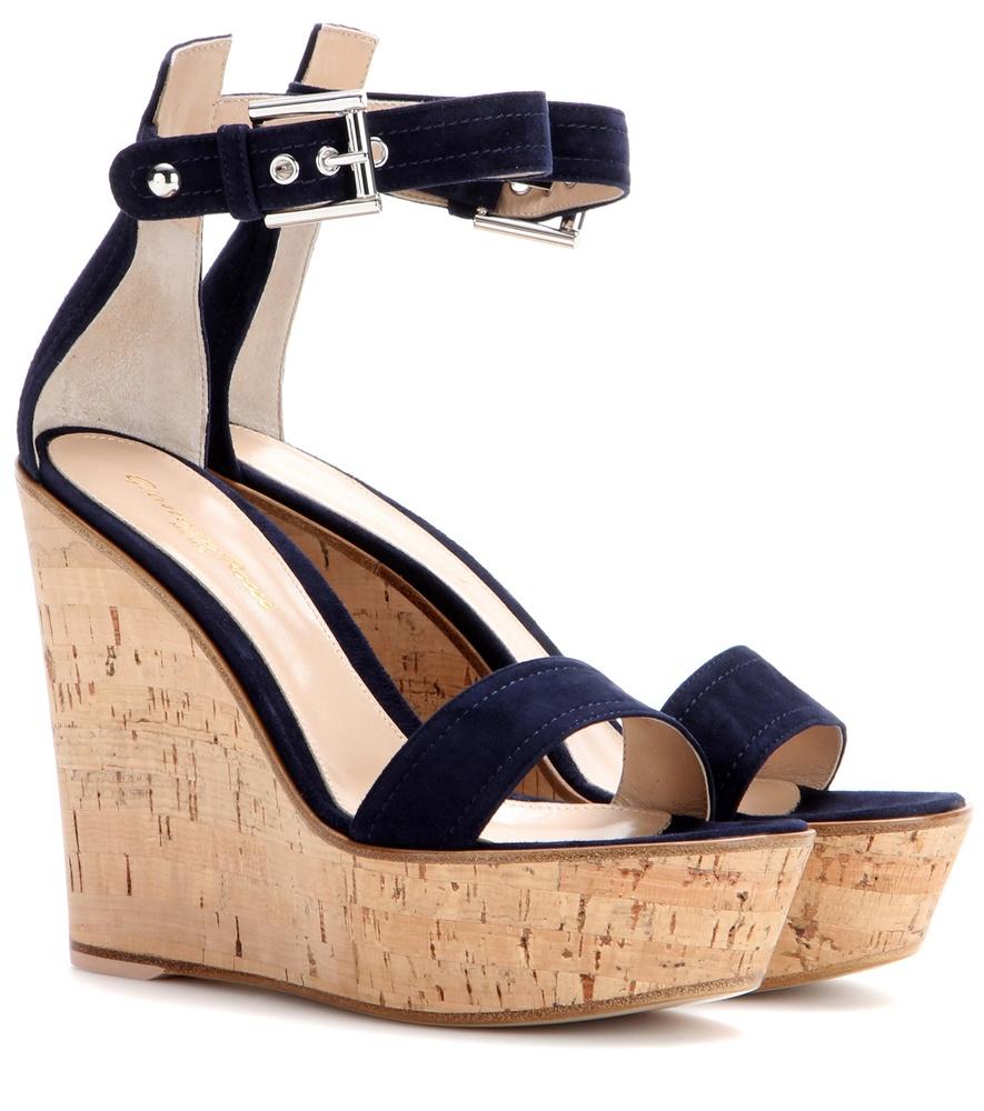 Gianvito Rossi Denim Wedge Sandals 100% original cheap online UfZhSuJx