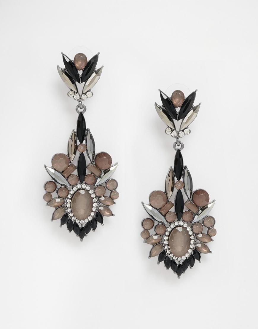 dd1d8fed33278a Lyst - Little Mistress Black Stone Drop Earrings in Metallic
