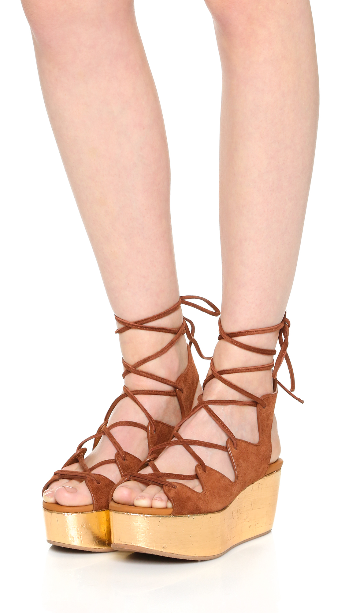 93e6ef903e1 Lyst - See By Chloé Liana Platform Lace Up Sandals in Brown