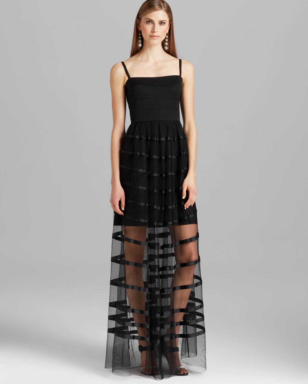 Vera Wang Gown Spaghetti Strap Sheer Skirt In Black Lyst