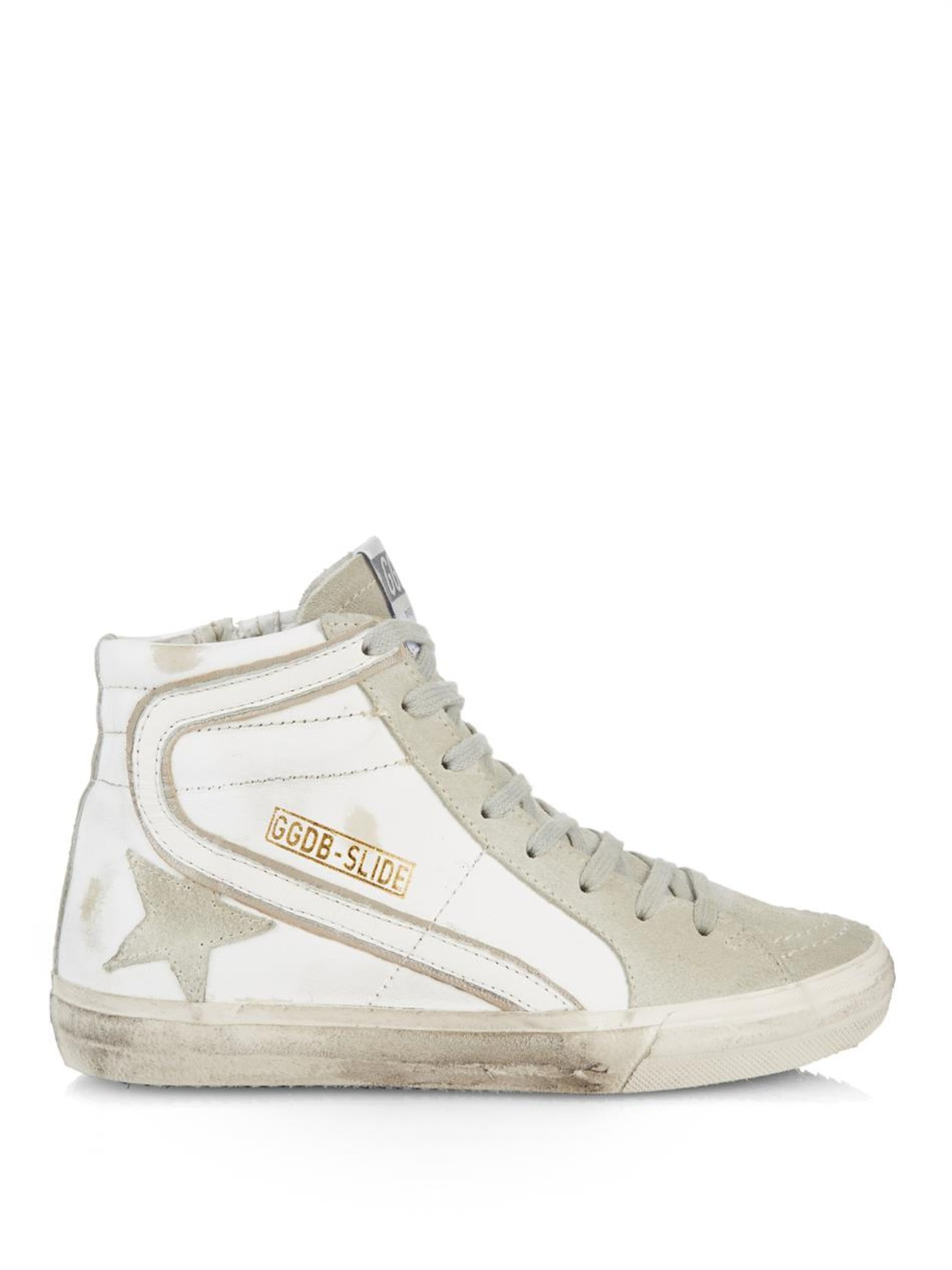 e9a28d0d8b79 Lyst - Golden Goose Deluxe Brand Slide High-Top Leather Sneakers in ...