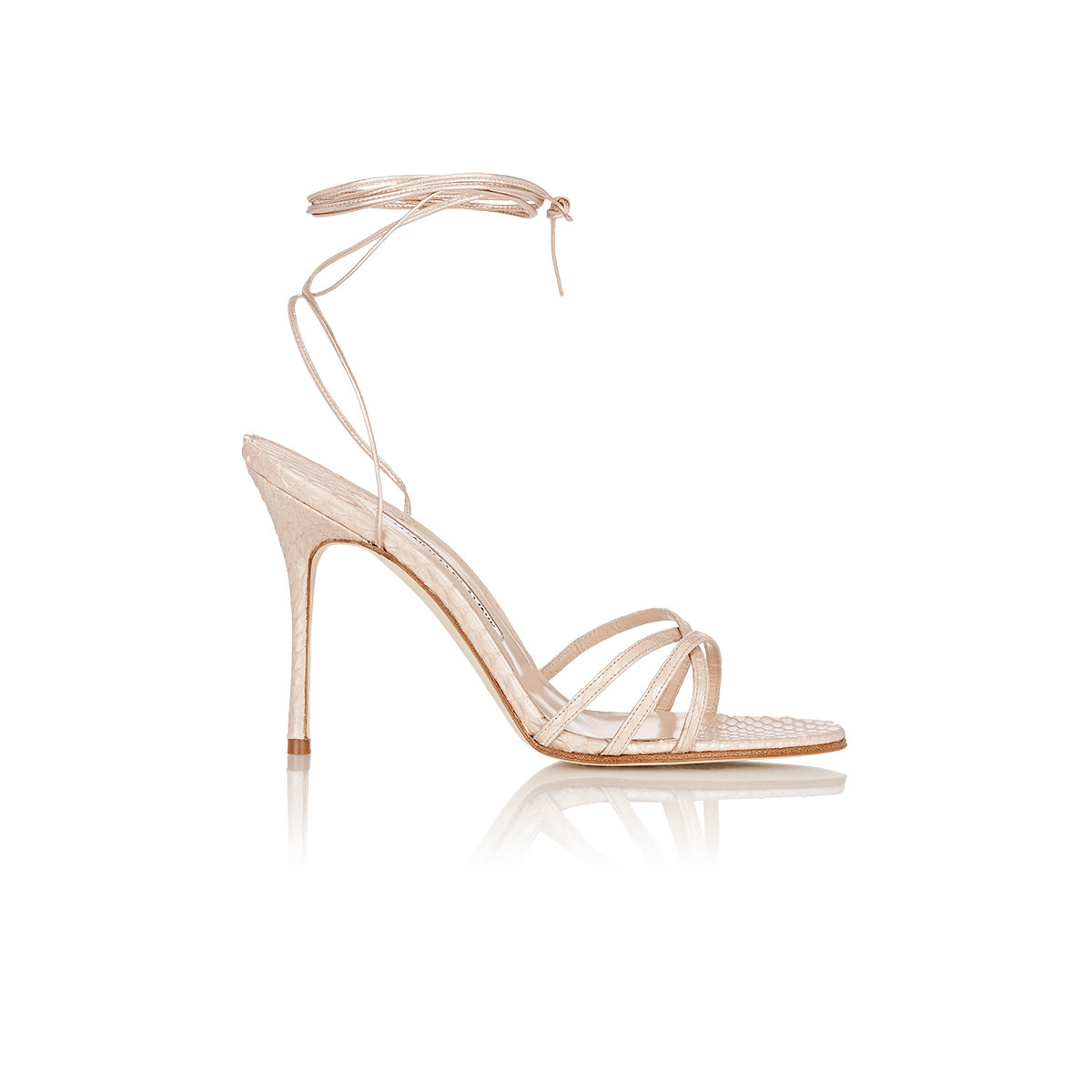 c87f6e9adb Manolo Blahnik Women's Snakeskin Leva Ankle-wrap Sandals in Natural ...
