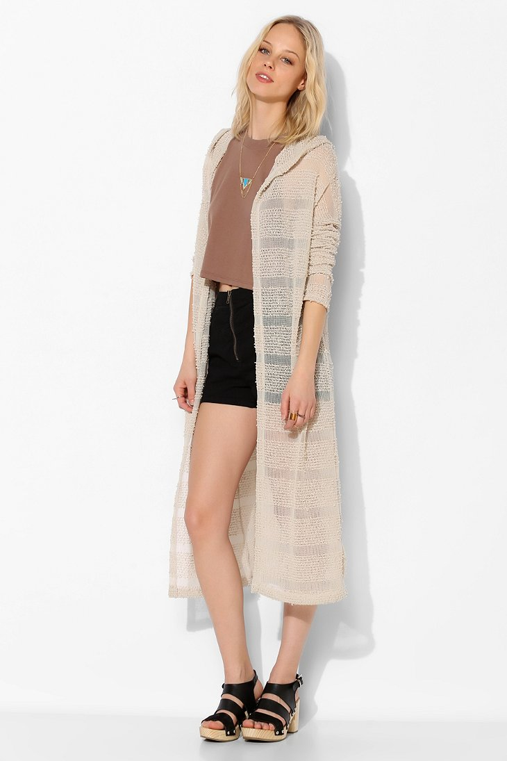Bdg Sheer Hooded Maxi Cardigan in Natural | Lyst