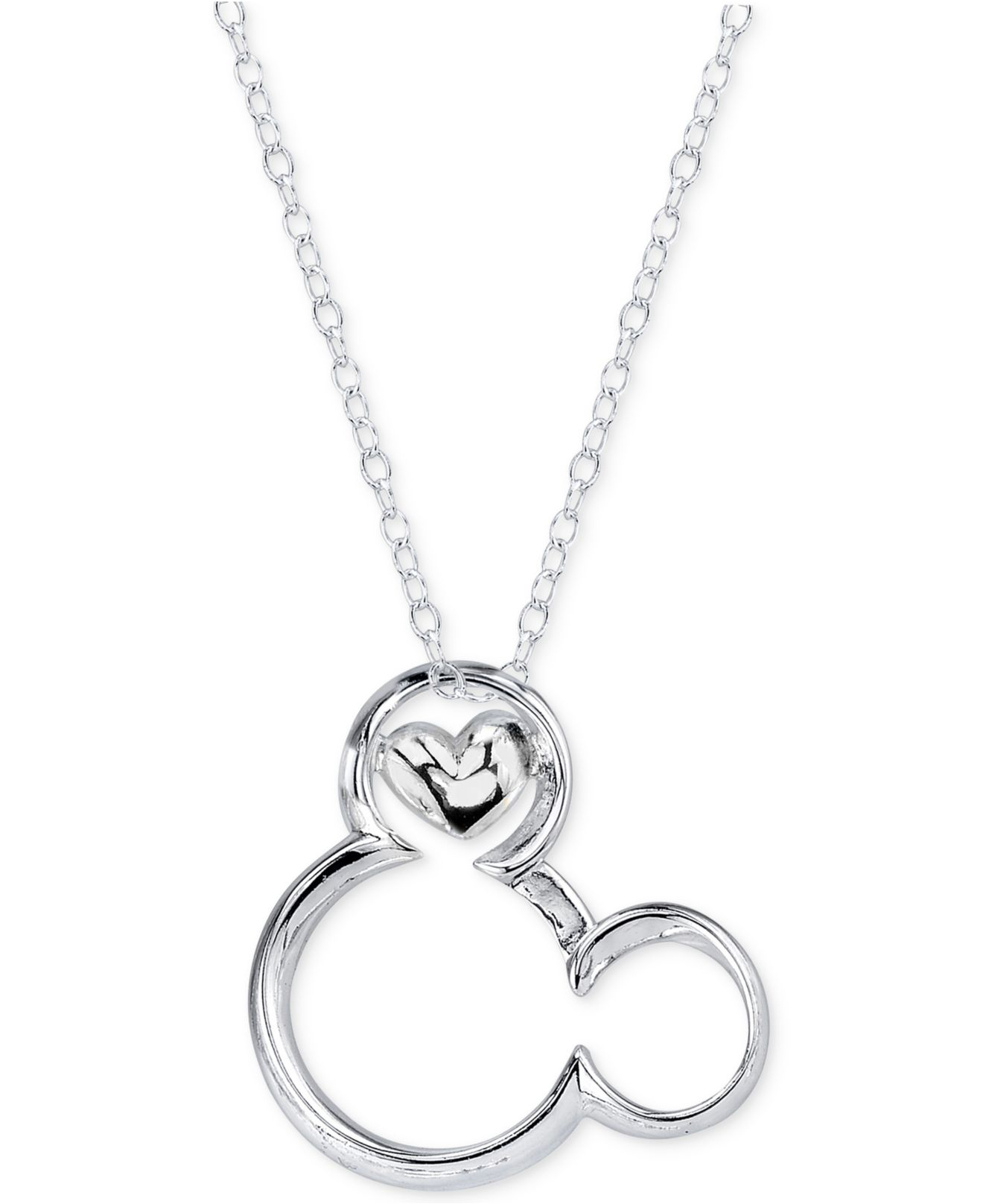 Disney magical moment mickey heart pendant necklace in for Disney fine jewelry rings