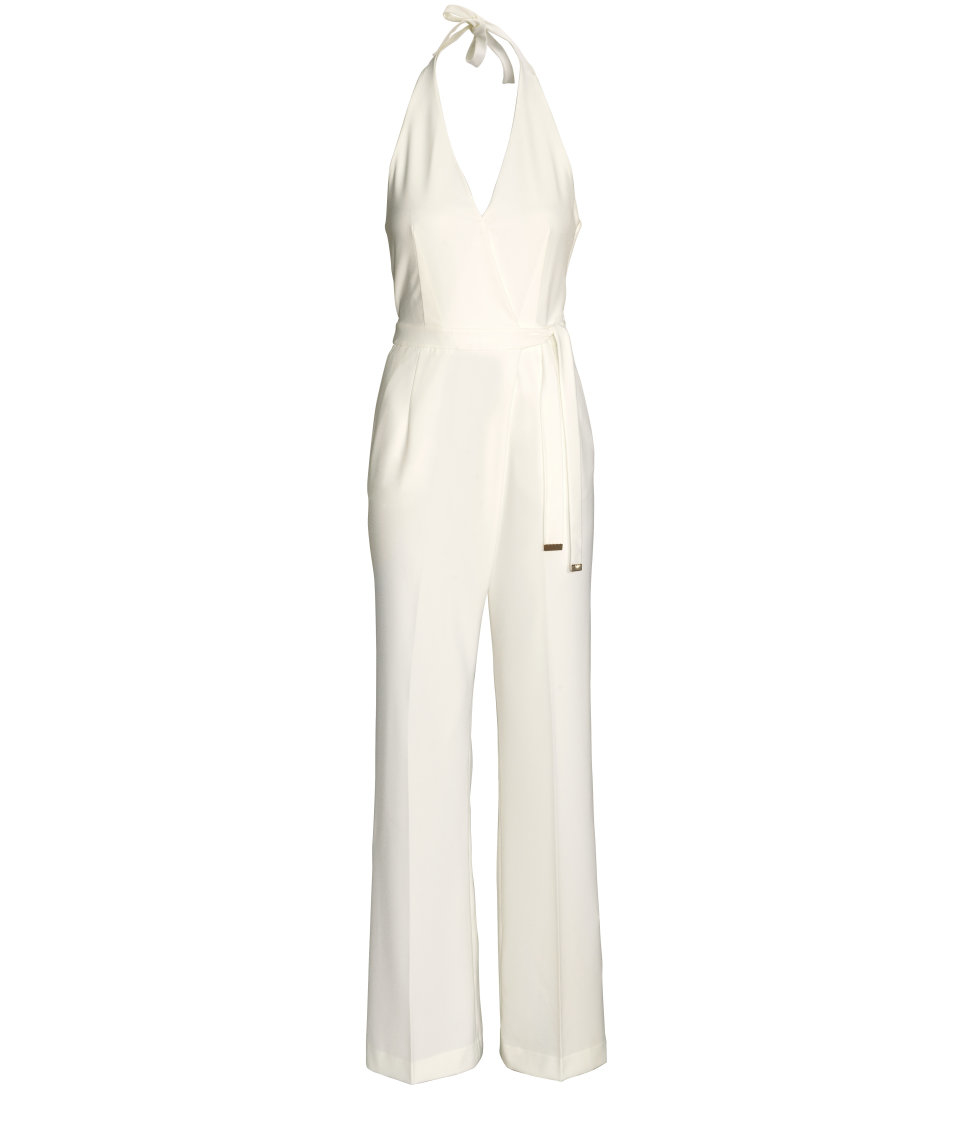 22690a7a4486 Lyst - H M Halterneck Jumpsuit in White