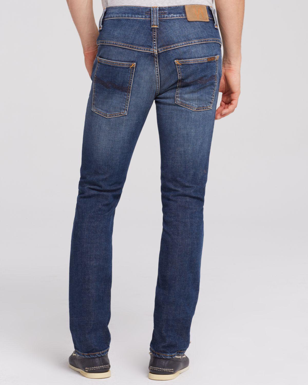 nudie jeans thin finn slim fit jeans in moody blue in blue. Black Bedroom Furniture Sets. Home Design Ideas