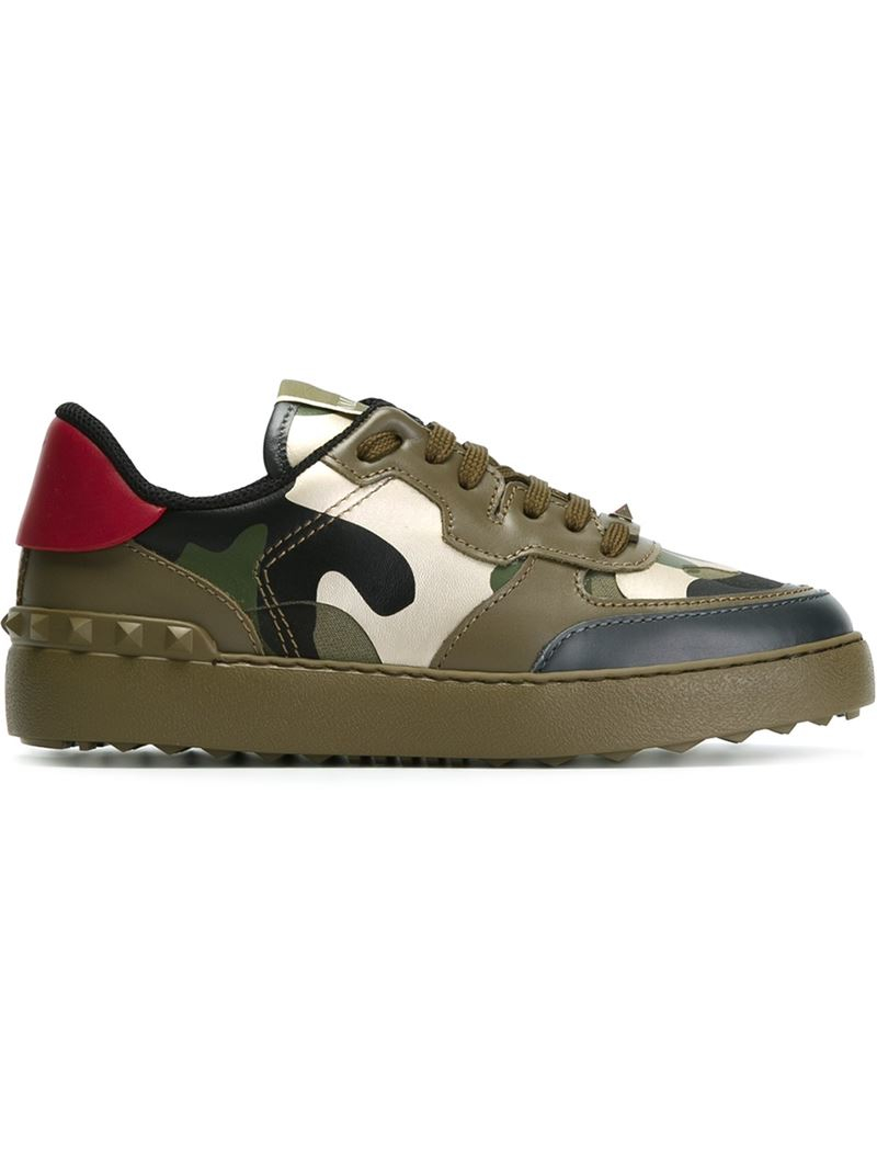 valentino camouflage leather sneakers in green lyst. Black Bedroom Furniture Sets. Home Design Ideas