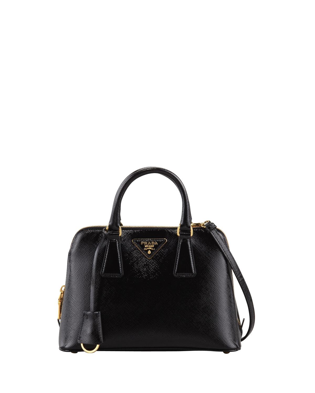 Prada Saffiano Vernice Promenade Crossbody Bag in Black (nero) | Lyst