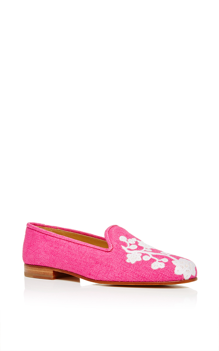 Lyst Stubbs Amp Wootton Fuchsia Linen Quince Slipper In Pink