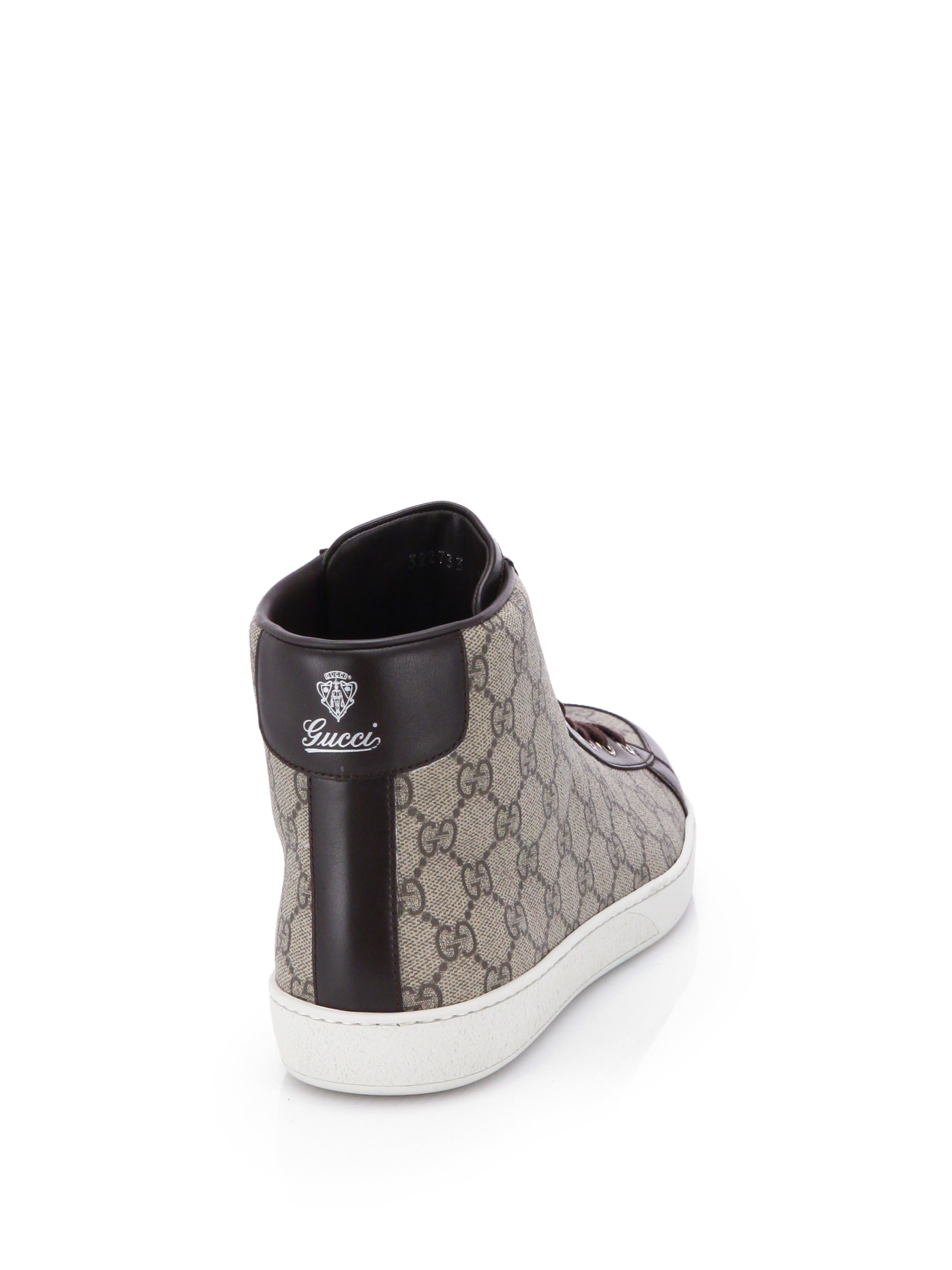Lyst Gucci Gg Supreme Canvas High Top Sneakers In Natural For Men