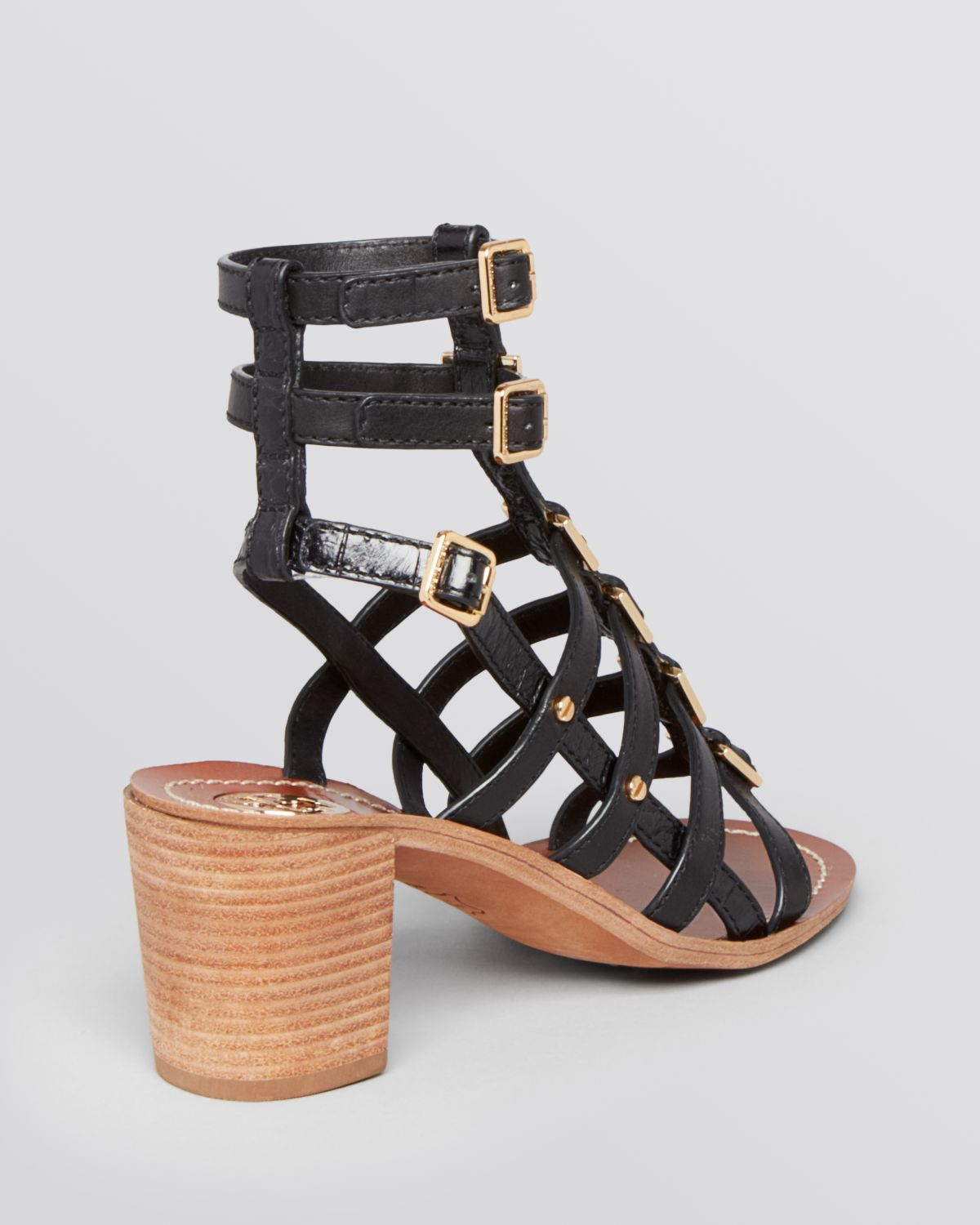 Tory burch Gladiator Sandals Reggie Block Heel in Black | Lyst