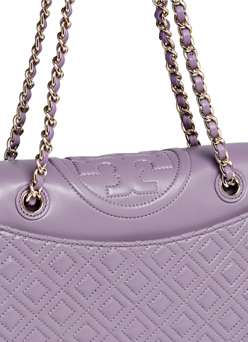 1003d43f918 ... reduced lyst tory burch fleming medium quilted leather bag in purple  8b5e3 b351e
