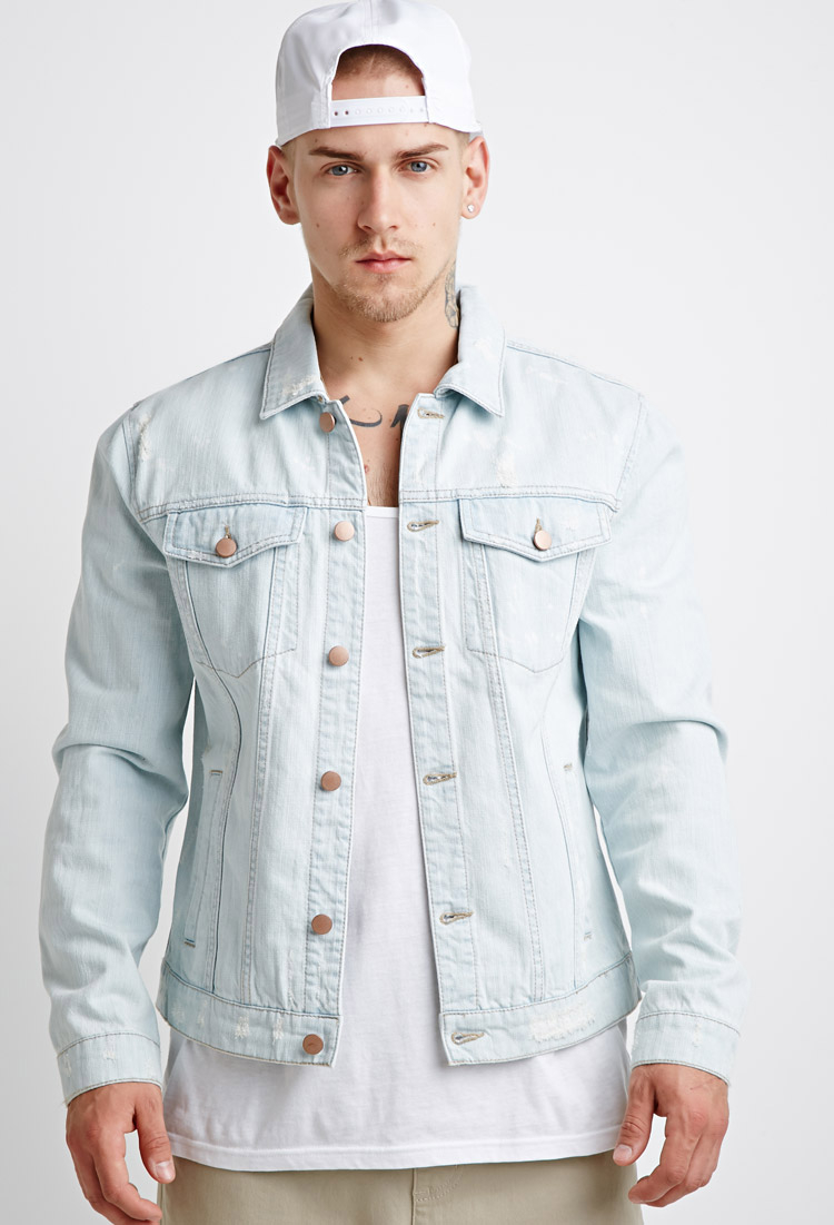 Forever 21 Distressed Denim Jacket in Blue for Men | Lyst