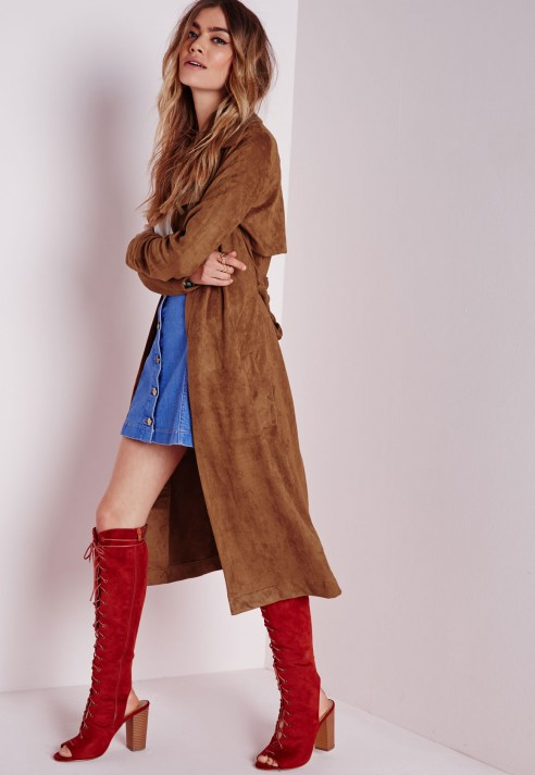 Missguided Faux Suede Trench Coat Tan in Brown | Lyst