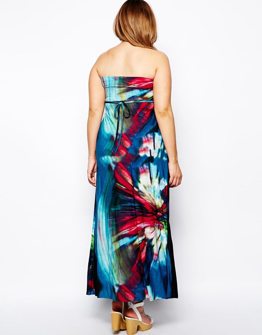 Lyst Ax Paris Plus Size Tropical Print Maxi Dress In Blue