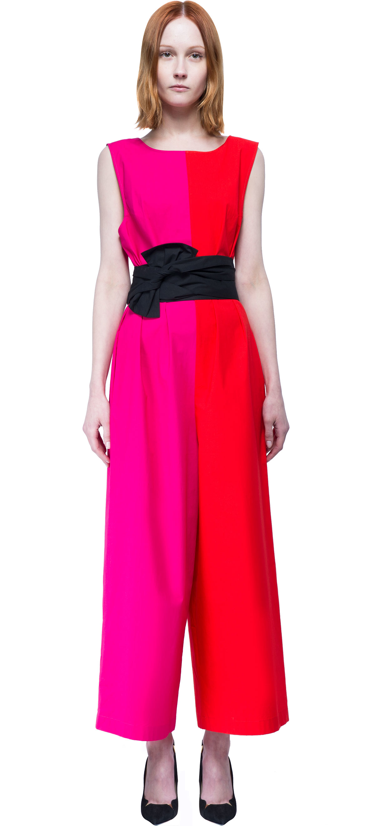 lyst isa arfen color block jumpsuit in pink. Black Bedroom Furniture Sets. Home Design Ideas