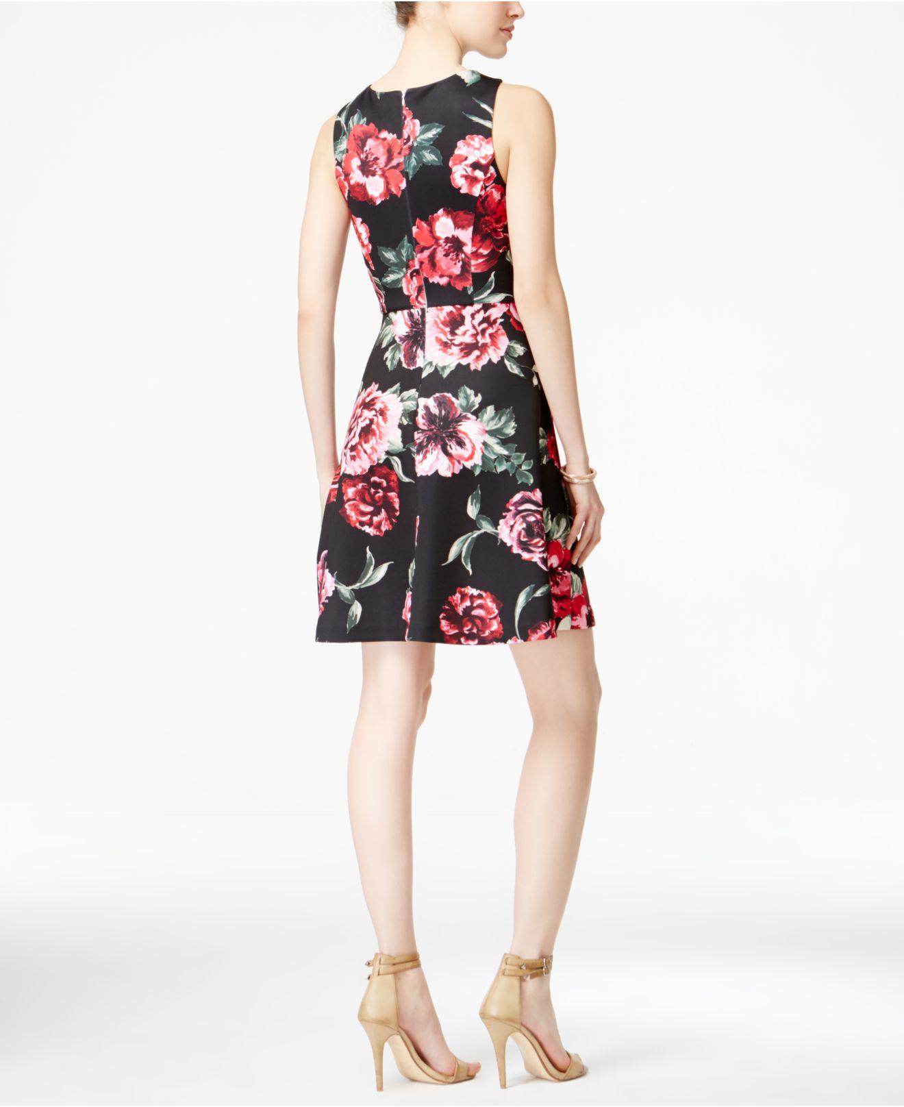 Lyst Jessica Simpson Floral Print Scuba Fit Amp Flare Dress