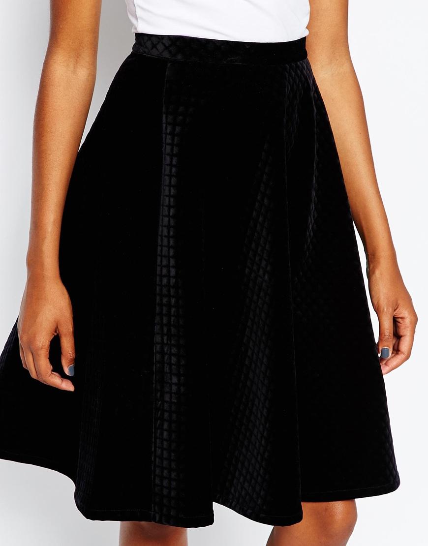 Monki A-line Velvet Skirt in Black | Lyst