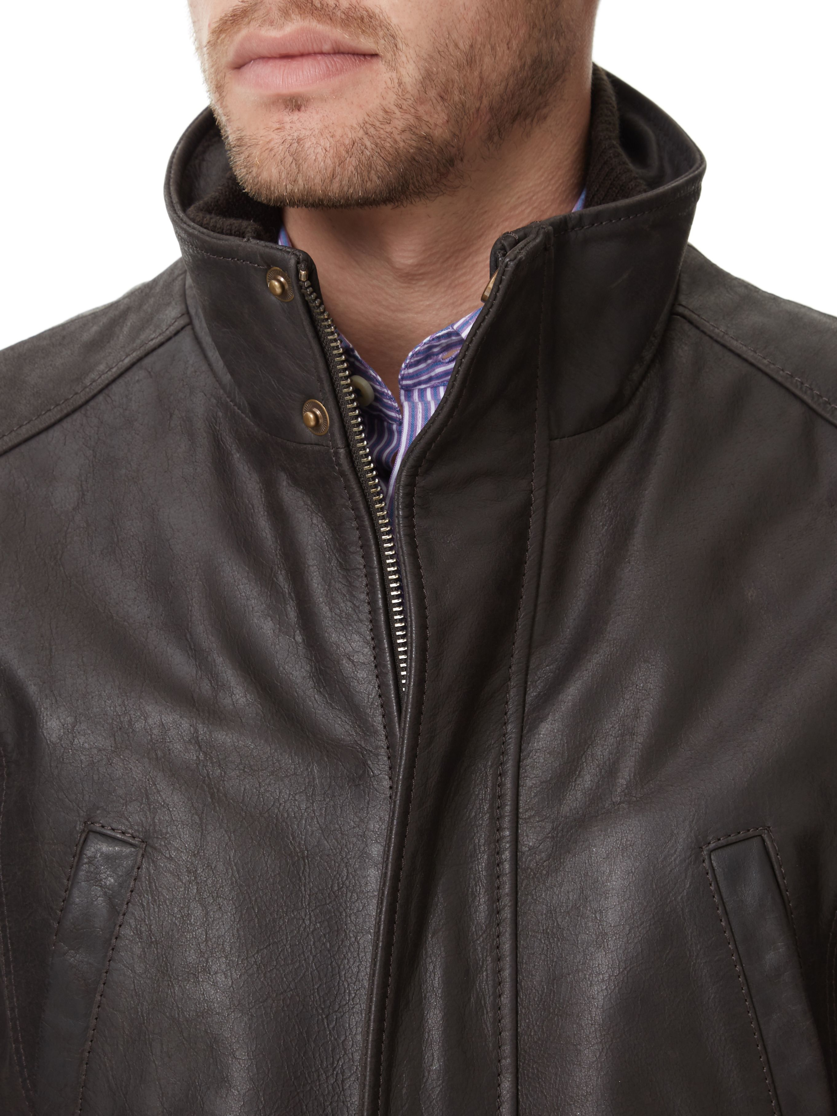 Austin reed Brown Leather Jacket in Brown for Men | Lyst
