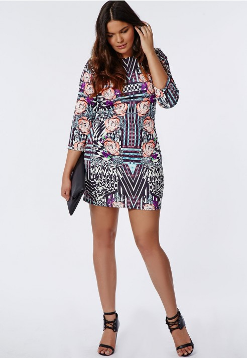 Missguided Plus Size Floral Print Bodycon Dress   Lyst